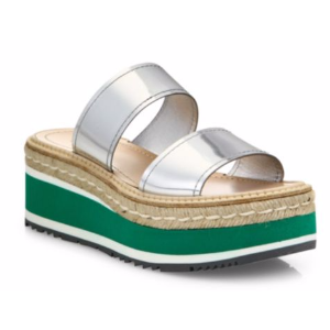 Prada - Metallic Leather Espadrille Platform Slides - saks.com