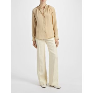 Crepe de Chine Stan Blouse in Beige | JOSEPH