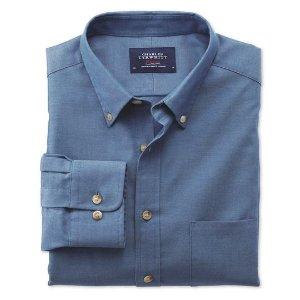 Classic fit non-iron twill blue shirt | Charles Tyrwhitt