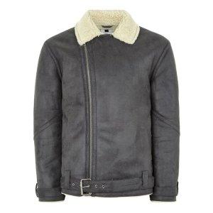 Gray Faux Shearling Biker Jacket
