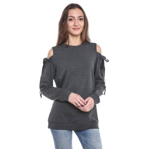 Drew Ruffle Tie Cold Shoulder Sweatshirt   South Moon Under