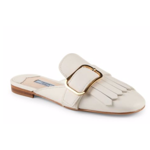 Prada - Kiltie Buckle Leather Mule Slides - saks.com