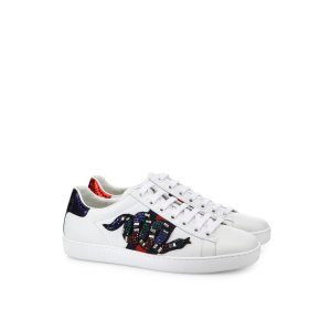 New Ace Crystal-Embroidered Snake Leather Low-Top Sneakers