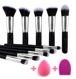 7.99 BEAKEY Makeup Brushes Set Premium Makeup Brush Kit Synthetic Kabuki with Blender Sponge and Brush Egg (10+2pcs,Black/Silver)