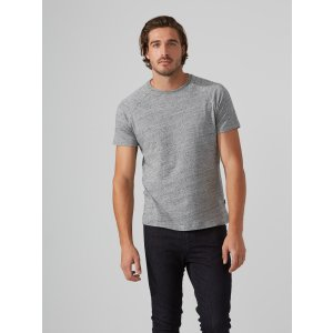 Raglan Crewneck T-Shirt in Grey Heather
