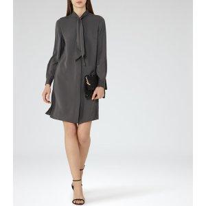 Hue Grey Green Shift Shirt Dress - REISS