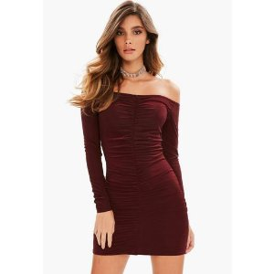 Missguided - Burgundy Slinky Ruched Front Mini Dress