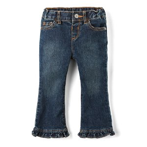 Toddler Girls Basic Ruffle Flare Jeans - Sapphire Wash | The Children's Place