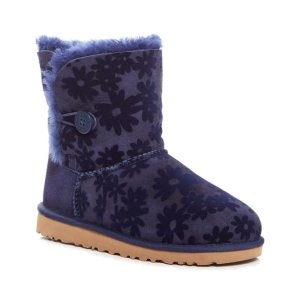 UGG® Navy Bailey Button Flowers Suede Boot - Toddler & Little Kids | zulily