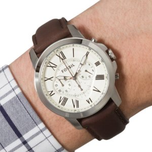 $64.61 Lowest priceFossil Men's FS4839 Grant Chronograph Watch With Brown Leather Band