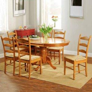 Ladderback 木质餐桌椅7件套