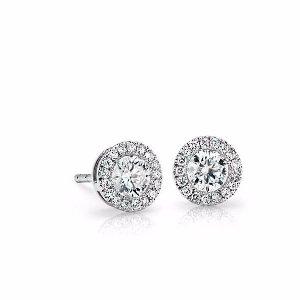 Diamond Halo Earrings in 14k White Gold (1/2 ct. tw.) | Blue Nile