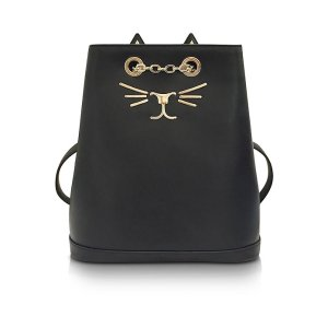 Charlotte Olympia Feline Black Leather Petit Backpack at FORZIERI
