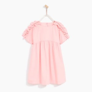 POPLIN DRESS WITH FRILLED SHORT SLEEVES - DRESSES-GIRL   4-14 years-KIDS-SALE   ZARA United States