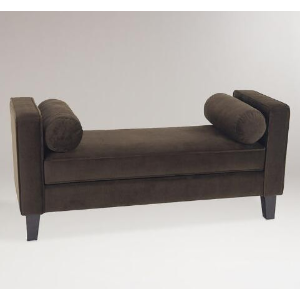 Chocolate Velvet Taylor Bench with Bolsters | World Market