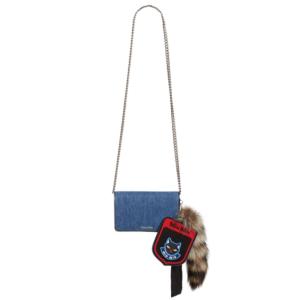 Miu Miu Denim Crossbody with Genuine Northern Raccoon Fur Charm