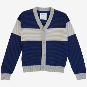 Boys' Ribbed Stripe Cardigan (8-16) - Imperial Blue | Nautica