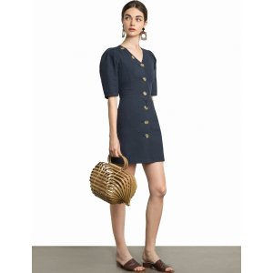 Luna Button V Linen Dress