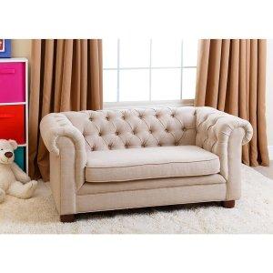 Abbyson Kids Beige Linen Chesterfield RJ Mini Sofa - Free Shipping Today - Overstock.com - 17640494