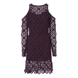 Floral Grid Cold Shoulder Dress