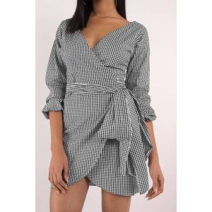 Check It Out Gingham Wrap Dress