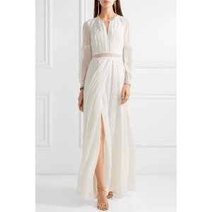 Burberry | Lace-trimmed silk-crepon gown