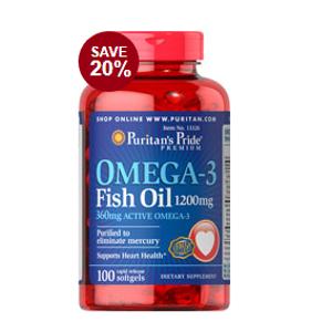 Omega-3 Fish Oil 1200 mg (360 mg Active Omega-3) 100 Softgels | Semi-Annual Sale Supplements | Puritan's Pride