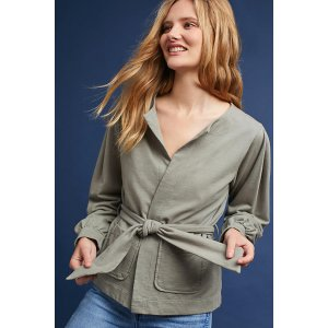 Pleated Tie-Front Cardigan
