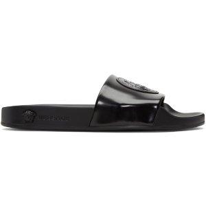 Versace: Black Medusa Pool Slide Sandals | SSENSE