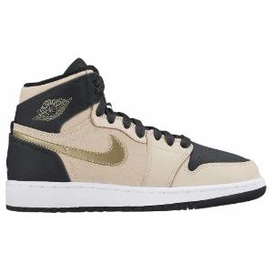 Jordan AJ 1 High - Girls' Grade School - Basketball - Shoes - Pearl White/Metallic Gold Star/Black/White