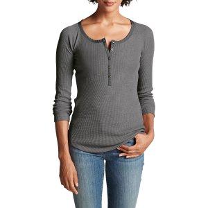 Women's Stine's Favorite Waffle Henley Shirt - Solid | Eddie Bauer