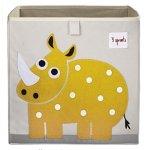 Sprouts 动物图案布艺收纳盒,黄色犀牛
