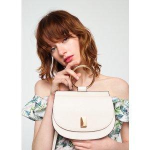 Metallic handle shoulder bag -  Women | MANGO USA