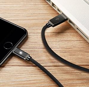 $7.79Aimus 苹果 Lightning 锌合金防断数据线带LED灯 3根