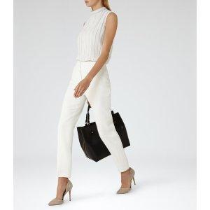 Jolie White Striped Plisse Top - REISS