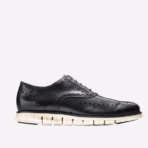 Mens ZEROGRAND Wing Oxfords in Black-White | Cole Haan