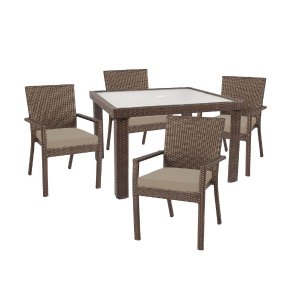 Hampton Bay Beverly 5-Piece Patio Dining Set with Beverly Beige Cushion-65-23355B - The Home Depot