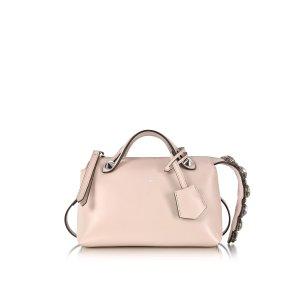 Fendi Soft Pastel Pink Leather Mini By The Way Boston Bag w/Smoky Quartz Crystals a