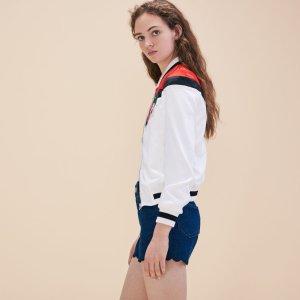 BETTY Embroidered satin varsity jacket