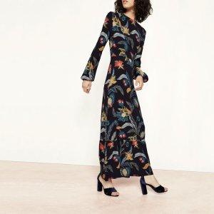ROUSSEAU Long dress with baroque print - Dresses - Maje.com