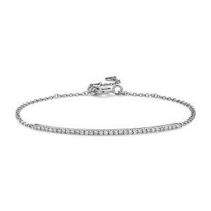 Delicate Diamond Bar Bracelet in 14k White Gold (1/5 ct. tw.) | Blue Nile