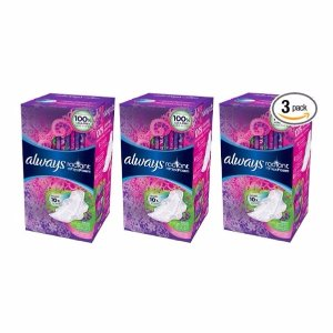 Always Radiant Heavy Pads with Wings, Scented, 26 Count (Pack of 3)