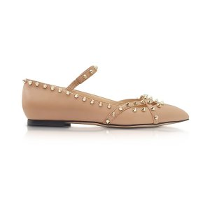 Charlotte Olympia Kensington Nude Leather Flat 35 IT/EU at FORZIERI