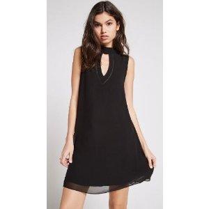 Cutout Mock-Neck A-Line Dress