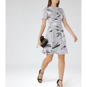 Bronte Grey/black Printed Dress - REISS