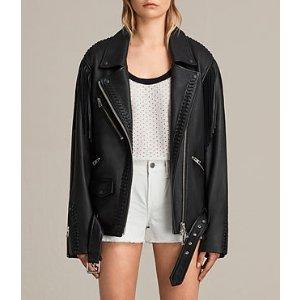 ALLSAINTS US: Womens Trevett Oversized Biker Jacket (Black)