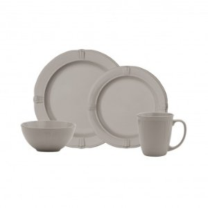 Anchor Home Annapolis Cliff Grey 16pc Dinnerware Set, Service for 4