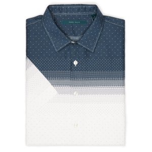 Slim Fit Short Sleeve Mini Dot Print Shirt - Perry Ellis
