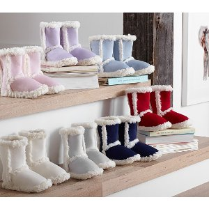 Suede Sherpa Slippers | Pottery Barn Kids