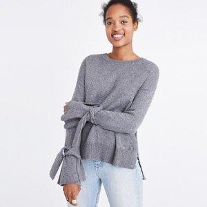Tie-Cuff Pullover Sweater